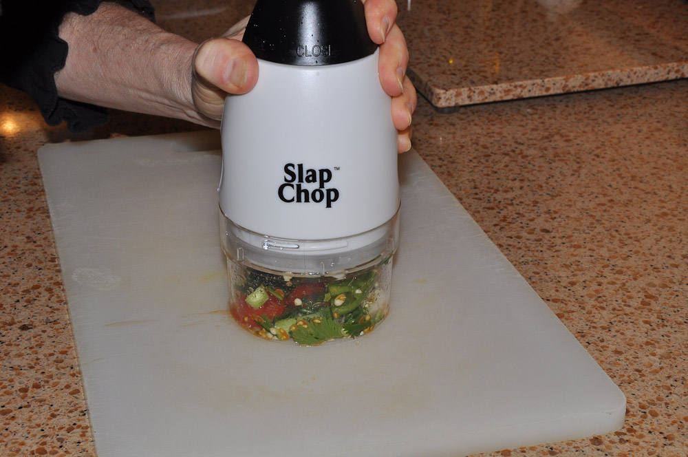 Making salsa - Slap Chop Luncheon