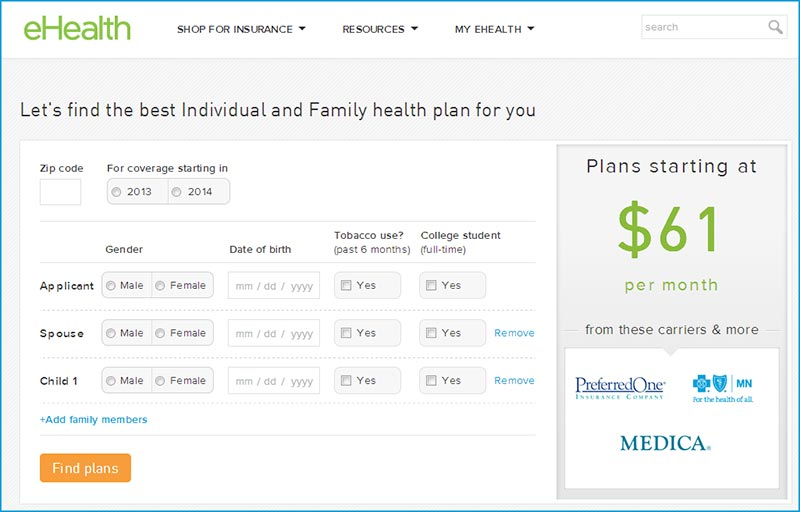 Get a quote at eHealthInsurance.com