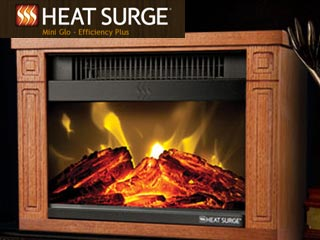 Heat Surge Mini Glo Electric Fireplace Heater